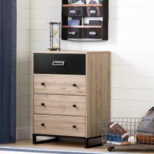 Industrial 4-Drawer Chest Storage Unit - Rustic Oak and Matte Black