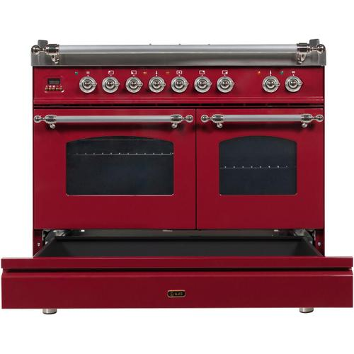 Nostalgie 40 Inch Dual Fuel Natural Gas Freestanding Range in Burgundy with Chrome Trim