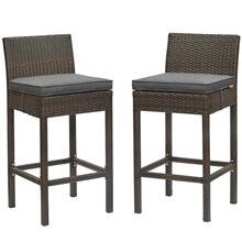Conduit Bar Stool Outdoor Patio Wicker Rattan Set of 2 in Brown Charcoal
