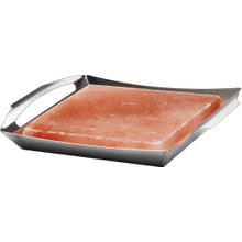 Himalayan Salt Block with Stainless Steel Topper with Grill Topper