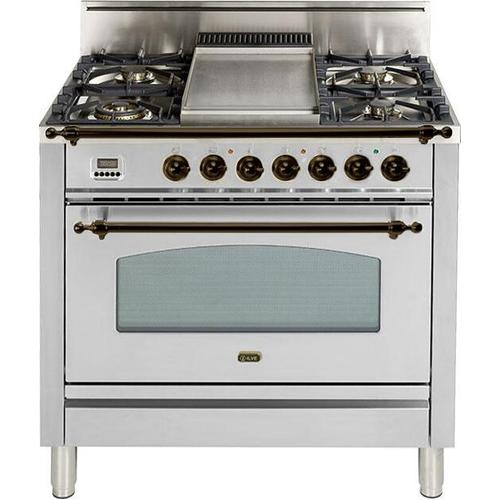 Nostalgie 36 Inch Gas Liquid Propane Freestanding Range in Stainless Steel with Bronze Trim