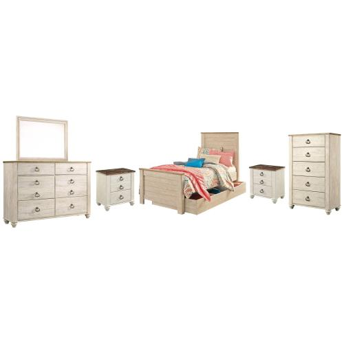 Ashley - Twin Panel Bed With 1 Storage Drawer With Mirrored Dresser, Chest and 2 Nightstands