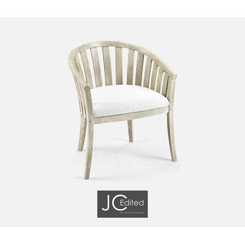 White Wash Driftwood Tub Armchair, Upholstered in COM