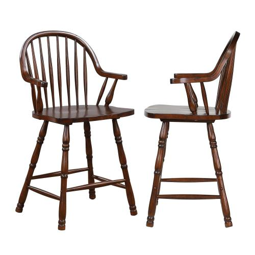 Windsor Counter Height Arm Stool - Distressed Chestnut Brown (Set of 2)