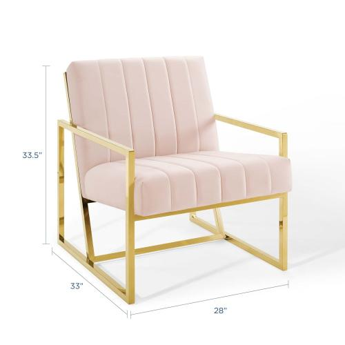 Inspire Channel Tufted Performance Velvet Armchair in Pink