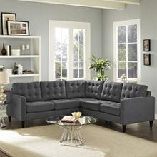 See Details - Empress 3 Piece Upholstered Fabric Sectional Sofa Set in Gray