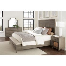 Vogue - King/california King Upholstered Bench Storage Footboard - Gray Wash Finish