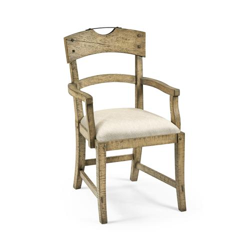 Planked Light Driftwood Dining Arm Chair, Upholstered in Skipper