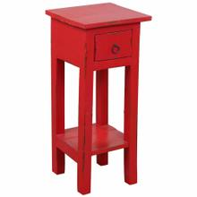 See Details - Cottage Side Table - Distressed Red