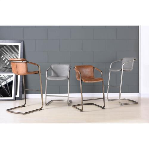 Product Image - Indy PU Dining Side Chair Rubbed Gold Frame, Antique Cigar Brown