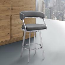 "Saturn Contemporary 26"" Counter Height Barstool in Brushed Stainless Steel Finish and Grey Faux Leather"