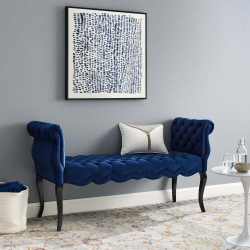 Modway - Adelia Chesterfield Style Button Tufted Performance Velvet Bench in Navy