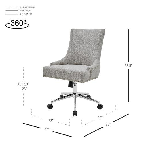 Charlotte KD Fabric Office Chair, Cardiff Gray