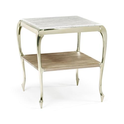 Square Rivoli Walnut & White Stainless Steel End Table with White Carrara Marble Top