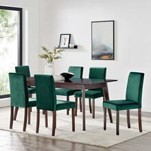 Prosper 7 Piece Upholstered Velvet Dining Set in Cappuccino Green