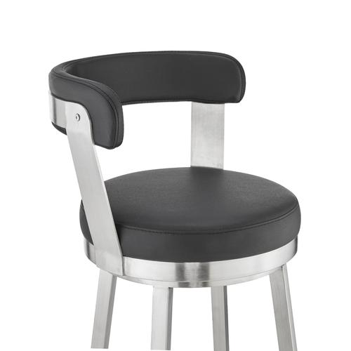 """Armen Living - Bryant 26"""" Black Faux Leather and Brushed Stainless Steel Swivel Bar Stool"""