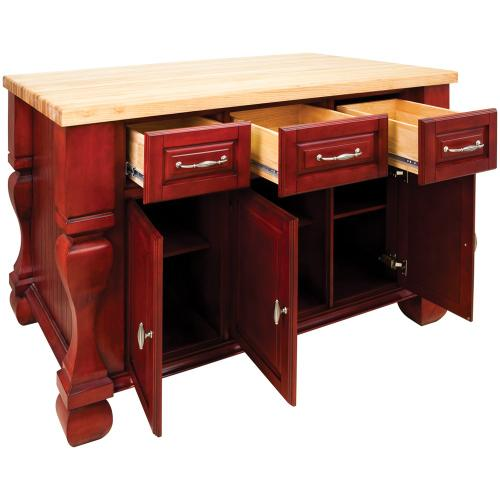 """52-5/8"""" x 32-3/8"""" x 35-1/4"""" Furniture style kitchen island with Red finish."""