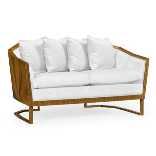 """60"""" Walnut Bookmatched Sofa, Upholstered in COM"""