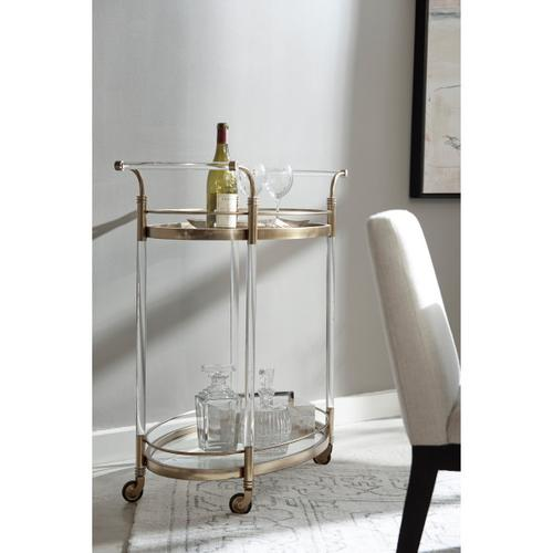Two-Tier Rolling Glass Bar Cart in Vintage Gold