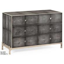 Faux anthracite shagreen low chest with silver base