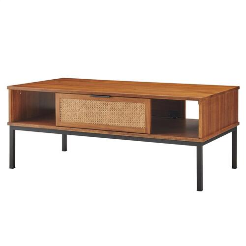 Caine Rattan Coffee Table, Brown