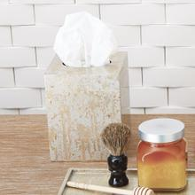 Champagne Silver Leaf Tissue Box