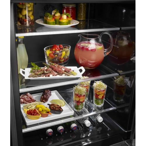 "24"" Stainless Steel Undercounter Refrigerator with Metal-Front Glass Shelves - Black Stainless Steel with PrintShield™ Finish"