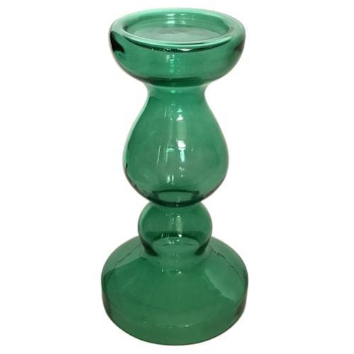 Crestview Collections - Miramar Medium Emerald Blown Glass Pillar Candle Holder