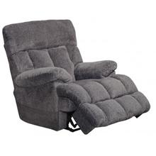 Lay Flat Massage & Heat Power Recliner with Power Headrest and Lumbar in Pewter Fabric