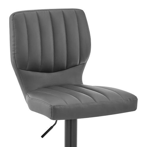 Armen Living - Bardot Adjustable Swivel Bar Stool in Matte Black with Gray Faux Leather
