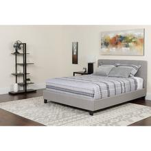 Chelsea Full Size Upholstered Platform Bed in Light Gray Fabric with Memory Foam Mattress