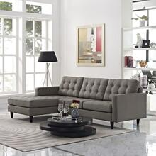 See Details - Empress Left-Facing Upholstered Fabric Sectional Sofa in Granite