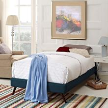 View Product - Loryn Twin Fabric Bed Frame with Round Splayed Legs in Azure