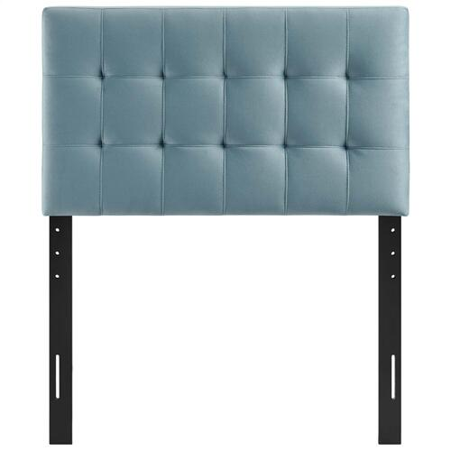 Lily Biscuit Tufted Twin Performance Velvet Headboard in Light Blue
