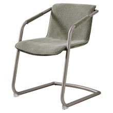 Indy Fabric Side Arm Chair Silver Frame, Sage Green/Velvet Green