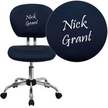 Personalized Mid-Back Navy Mesh Swivel Task Chair with Chrome Base