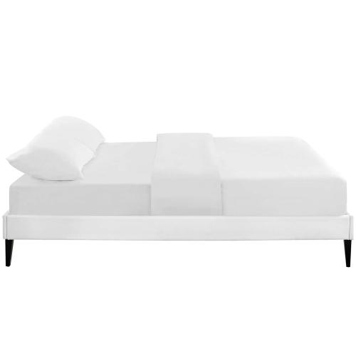 Tessie King Vinyl Bed Frame with Squared Tapered Legs in White