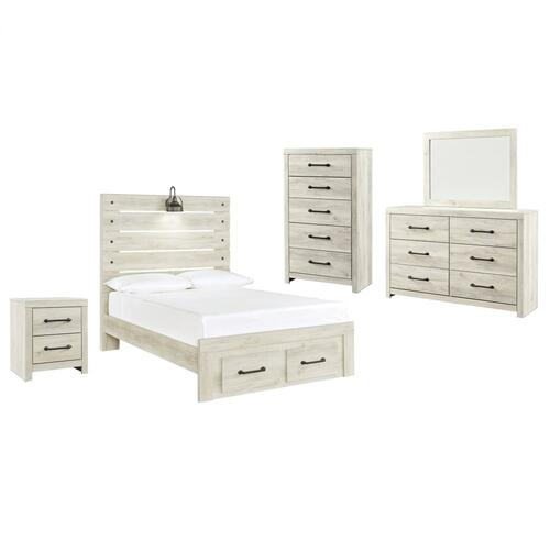 Ashley - Full Panel Bed With 2 Storage Drawers With Mirrored Dresser, Chest and Nightstand