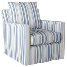 Slipcovered Swivel Chair w/Box Cushion & Track Arm - Seaside Beach Striped