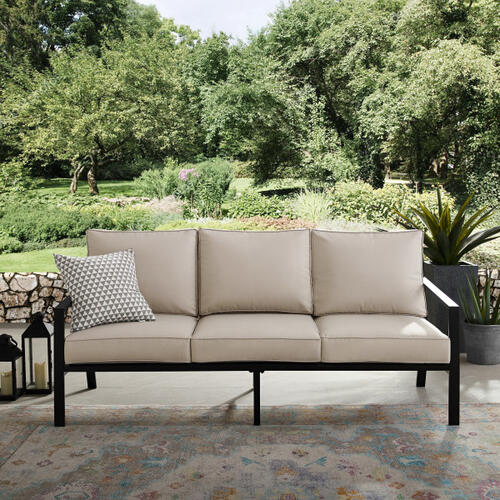 Slat Back Outdoor Sofa with Cushions
