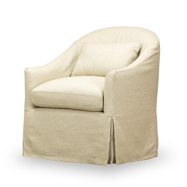 See Details - Becky Slipcovered Swivel Chair in Tribecca Natural
