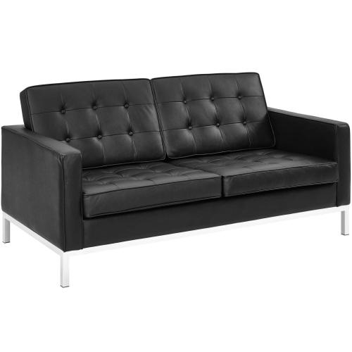 Modway - Loft 2 Piece Leather Sofa and Loveseat Set in Black