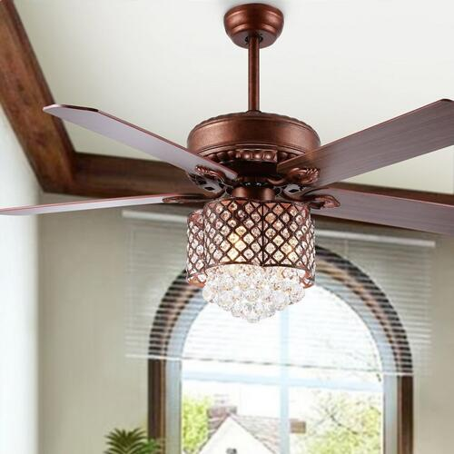 Safavieh - Kelso Ceiling Light Fan - Dark Walnut With Black / Dark Walnut ( Reversible Option)