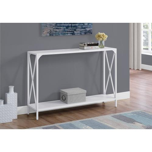 "ACCENT TABLE - 48""L / WHITE / WHITE METAL HALL CONSOLE"