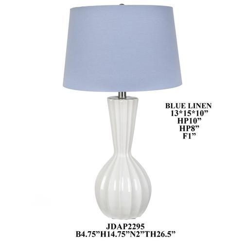 """Product Image - 36.5""""TH White, Ribbed Ceramic Table Lamp,2 pcs pk/2.5'"""
