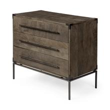 Ward 34L x 18W Brown Wood and Iron 3 Drawer Accent Cabinet