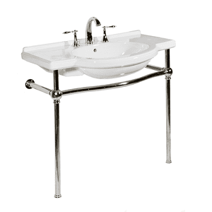 White NOUVEAU Console Lavatory with Satin Nickel Metal Finish Product Image
