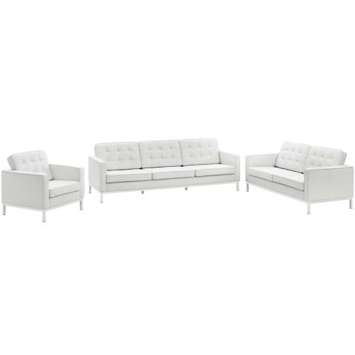 Loft 3 Piece Leather Sofa Loveseat and Armchair Set in Cream White