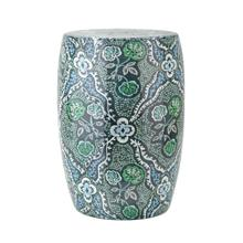 See Details - SG Blue and Green Floral Garden Stool