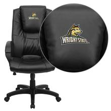 Wright State University Embroidered Black Leather Executive Office Chair